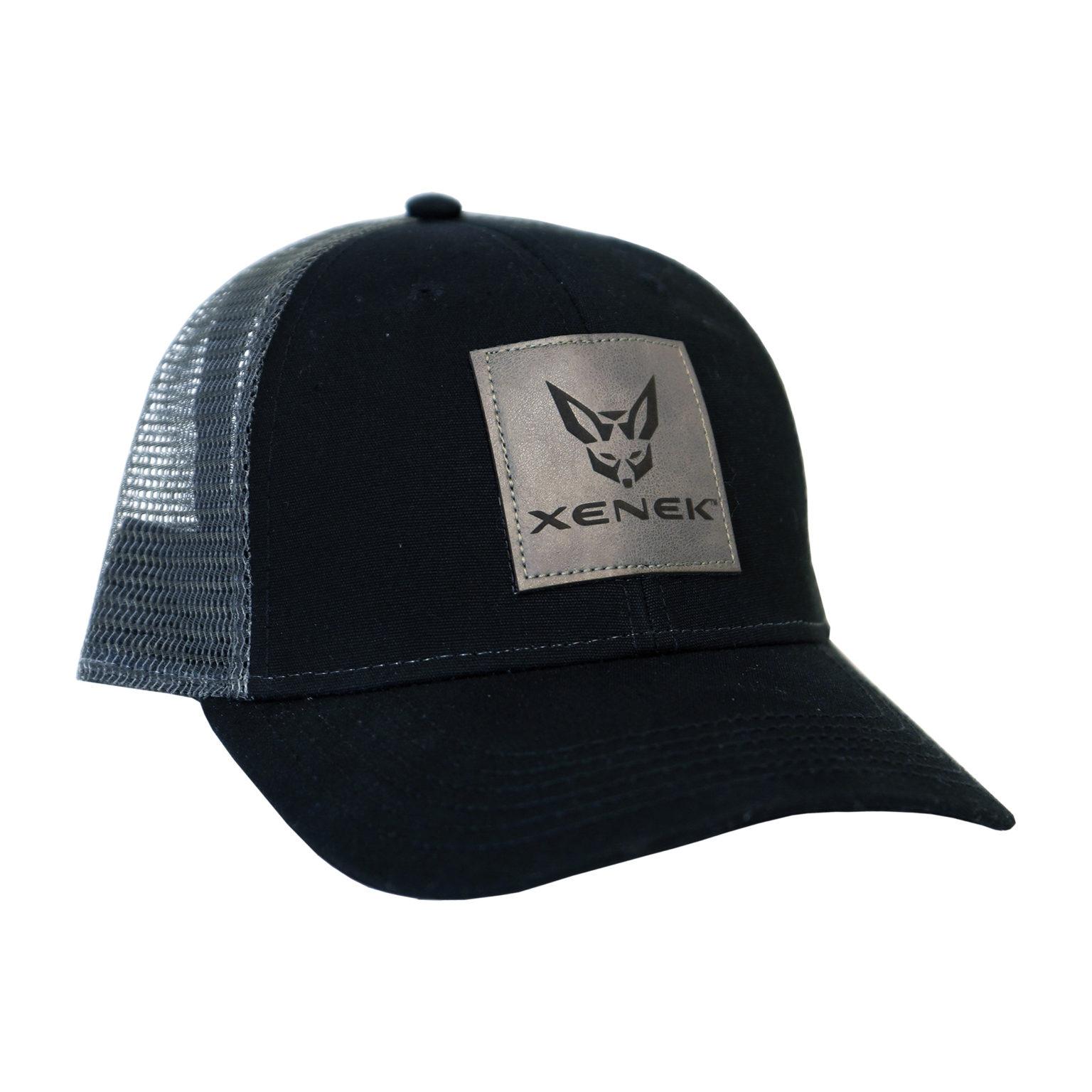 Black/Gray Trucker Cap w/ XENEK Leather Patch