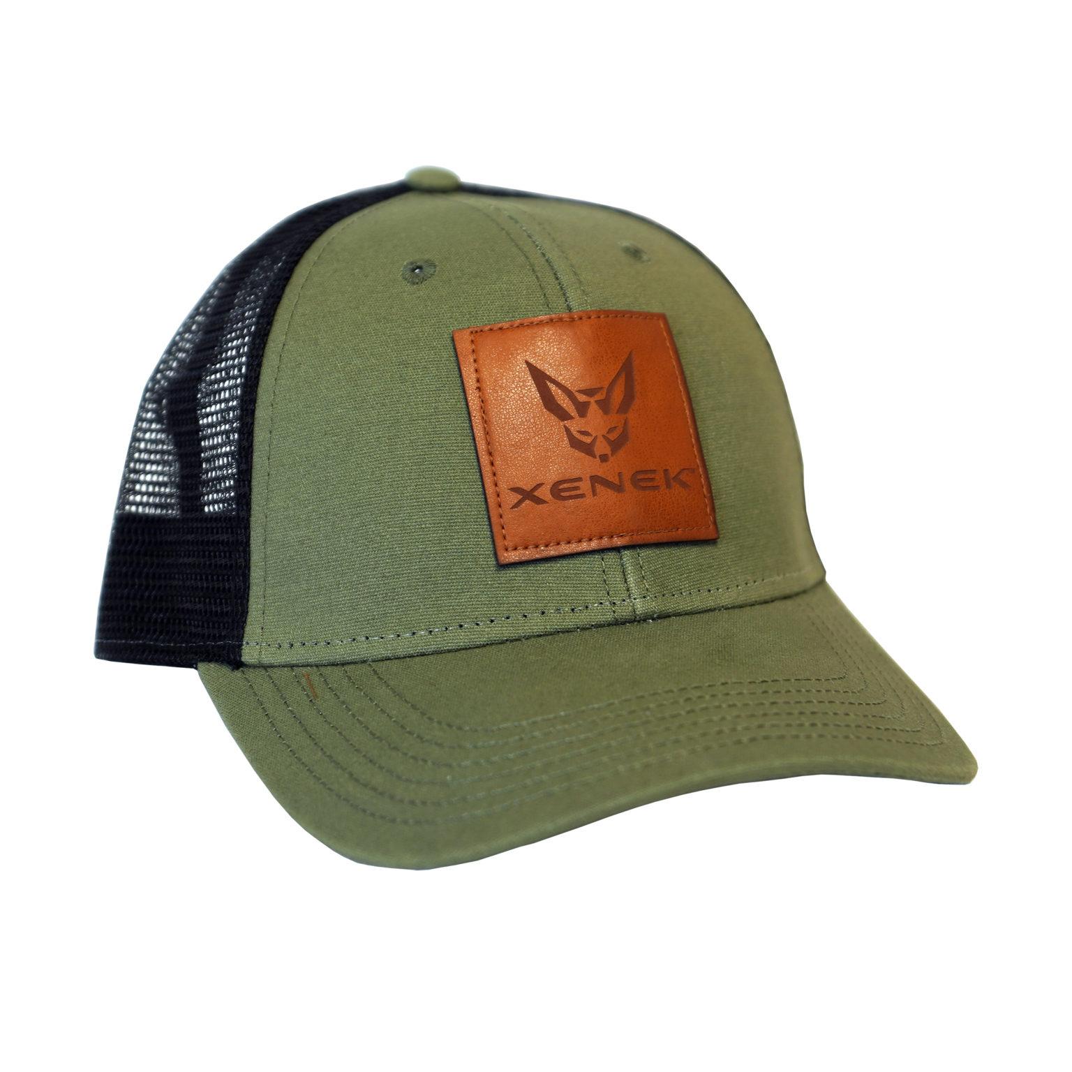 Olive/Black Trucker Cap w/ XENEK Leather Patch